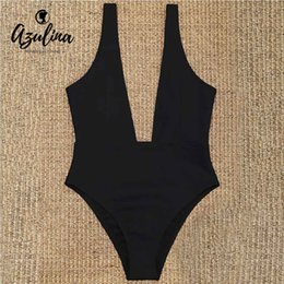 a82451f2df 20187 AZULINA 2018 New Plunging Neck One Piece Bodysuit Women Low Cut  Padded High Leg Rompers 2018 Summer Elastic Bathing Suit Overall