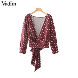 Wholesale Low Cut V Neck Shirts - Vadim women cute polka dots loose shirts oversized corss V neck bow tie low cut chic long sleeve blouses top blusas LT2411