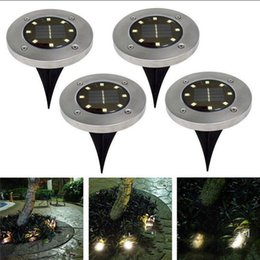 Wholesale garden christmas ornament - 8 LED Solar Power Buried Light Under Ground Lamp Outdoor Path Way Garden House Decoration OOA4250
