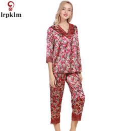 Wholesale Sexy Nightshirts - Spring Summer Fall Women Chinese Satin Silk Pajamas Sets Of Sleep Sets Lady Nightshirt + Pants Girl Sexy Superior Quality SY10