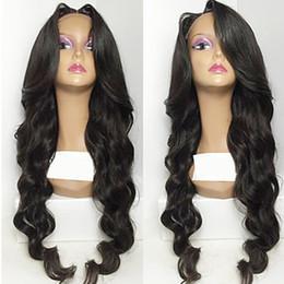 Wholesale Glueless Full Lace Wigs Dhl - DHL Shipping High Quality 100% Virgin Human Hair Natural Black Long Wavy Wig No Shedding Glueless Brazilian Lace Front Wigs for Black Women