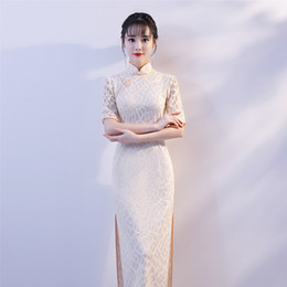 Canada Été Blanc Plus La Taille 3XL Tight Casual Dress Les Femmes Traditionnelles Demi-Manches Longue Qipao Lady Dentelle Sexy Chinois Cheongsam supplier plus size lace tights Offre