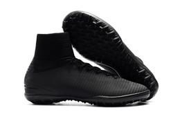 zapatos de césped para niños Rebajas Completo Negro Mercurial Superfly V TF Niños Fútbol Botines Césped para mujer Botas de fútbol 100% original TF Flat Kids Zapatos de fútbol para interior