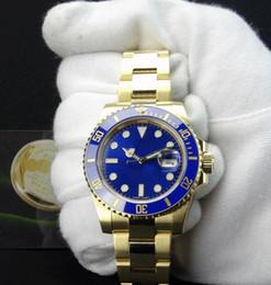 Safira azul ouro amarelo on-line-Fornecedor da fábrica de Luxo 18k safira em ouro amarelo 40mm Mens Relógio De Pulso Azul Dial E CERAMIC Bezel 116618 Relógio Automático De Movimento De Aço