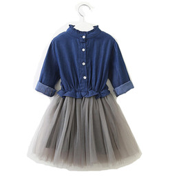 d8b5315d10a China Free shipping 3-8 years old baby clothing girls ruffle long sleeves  Denim mesh