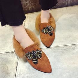 Wholesale Ladies Wedding Slipper Shoes - Wholesale- 2018 Autumn Winter Fashion Style Designer Flip Flops Women Flat Shoes Warm Black Rabbit hair slippers Women's Shoes Ladies T63