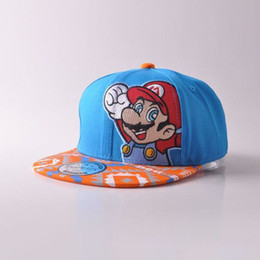 506629f7ef0 100% Cotton Super Mario Bros Mario Snapback Baseball suit for 4--9 years  kids Hip Hop Cap Casual Lovely Sun Hats girls boys cap