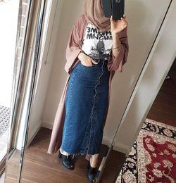 faldas de mezclilla hasta los tobillos Rebajas Falda larga al por mayor del dril de algodón de la longitud del tobillo para las mujeres musulmanes Falda maxi de la señora del dril de algodón islámico con los botones
