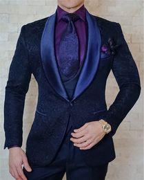 2018 Sur mesure Marine Paisley Floral Tuxedo Pour Hommes Costumes De Mariage Slim Fit 3 Pièce Sur Mesure Prom Blazer Terno Masculino ? partir de fabricateur
