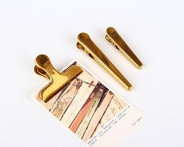 Wholesale Car Office Supplies - Bulldog Clips and Duckbill Clips - Stainless Steel with Brass Plated Metal Clamp Clip for Office Bills Home School Supplies