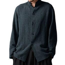 Tamanho do peito chinês on-line-Outono Homem Casual Algodão Único Breasted Camisas de Manga Longa Sólida Gola Plus Size Masculino Fit Longo Estilo Chinês Tops Camisa