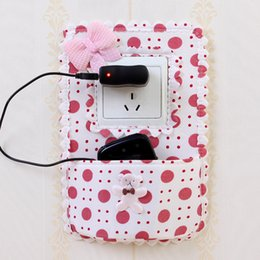 Wholesale Wall Sockets Switches - Vanzlife Fabric Switch Stickers Pastoral Pocket With Decorative Cover Creative Cell Phone Charging Socket Holder Protection