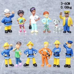 juguetes de enredo Rebajas INS ¡Venta caliente! 12 unids / set Niños Regalos de Navidad Colorido Bombero Sam Modelo Lindo Equipo de Rescate de Plástico Conjunto Muñecas Juguetes Dibujos Animados Figuras T22