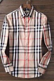 Wholesale Branded Dress Shirts - 2018 American business brand self-cultivation plaid shirt, fashion designer brand long-sleeved cotton casual shirt striped co-dress shirt 28