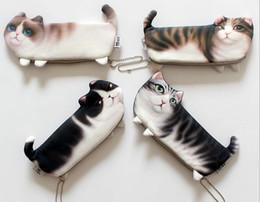 Wholesale Kawaii Fabric - Popular Kawaii Novelty Simulation Cartoon Cat Pencil Case Soft cloth School Stationery Pen Bag Gift for Girl Boy Student