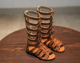 Wholesale high heels black bow - 2018 summer children's sandals, girls' boots, high-heeled Roman shoes, black butterflies, students' shoes