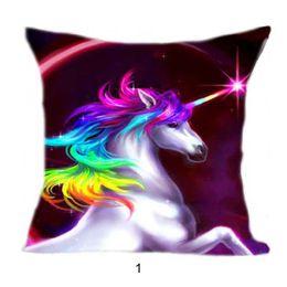 Wholesale Pillow Cover Cotton - Colorful Unicorn Pillow Case Cushion Cover Linen Cotton Throw Pillowcases sofa Bed Car Decorative Pillow Covers Drop Shipping