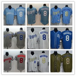 dd2f10a34 2018 custom Men women youth KC Royals Jersey  8 Mike   Moustakas Home Blue  White Grey Baseball Jerseys
