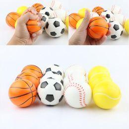 Wholesale foam novelties - 6.3cm Stress Ball Squeeze Soft Foam Ball Squeezing Balls Basketball Football Tennis Hand Wrist Exercise Novelty Items CCA9488 120pcs