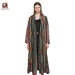 Wholesale Cardigan Ladies Long Design - Jiqiuguer Women Striped Trench Vintage Geometric Print Single Button Split Loose Plus Size Autumn Lady Cotton Cardigans G173Y006