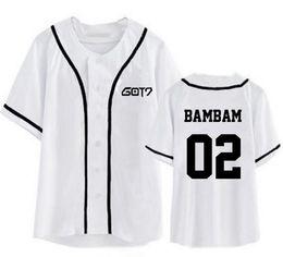 бейсбол стиль футболки женщин Скидка Kpop got7 имя члена печати с коротким рукавом бейсбол футболка мода лето стиль мужчины женщины я got7 футболка топ тройники