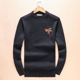 Wholesale Luxury Sweaters Men - Autumn winter warm sweater for men new luxury brand big bee men sweaters long sleeve pullover o neck men's sweaters free shipping