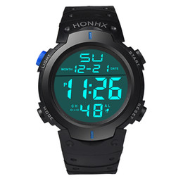 Wholesale Big Round Dial Digital Watches - Wholesale mens LED light digital sport watch HONHX 9001-1 men fashion business multi-function outdoor big dial students watches