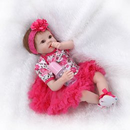 Wholesale Inflatable Toys For Women - Wholesale- 22inch Silicone Reborn Baby Doll Lifelike Vinyl Babies with Tutus Kits for Girls Gift Toys Women Collect