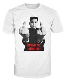 Wholesale T Shirt Printing Korea - Kim Jong-un Confrontation Joke North Korea Leader Prank Funny T-shirt Stranger Things Print T-Shirts Original Cotton Casual Shirt White Top