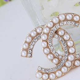 Wholesale Bridal Fashion Accessories - Women Fashion Rhinestone Crystal Brand Designer Channel Brooch Multistyle Suit Lapel Pin Brooch for Gift Party Bridal Jewelry Accessories