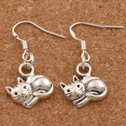 Wholesale Cat Fashion - Lying Cat Earrings 925 Silver Fish Ear Hook 40pairs lot Dangle 14x30 mm Fashion Jewelry E1153