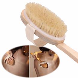 Baños de ducha online-1 unid Natural Boar Bristle Cepillo De Madera Mango Largo Masajeador Baño Ducha Volver Spa Cuerpo Cepillo Cepillo de Baño de Piel