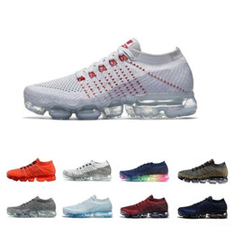 Wholesale Patchwork Cushions - 2018 vapormax Mens Running Shoes Women vapor maxes Sneaker Knitting outdoor trainer Athletic Sport Full palm cushion 36-45