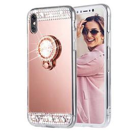 Luxe Lady Diamant Glitter Bling Doux Miroir Anneau Titulaire Cas Pour iPhone X 8 7 6 6 S Plus 5 5S SE Retour Cas de Couverture Shell Coque ? partir de fabricateur