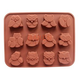 Wholesale Owl Silicone Mold - Wholesale- DIY tools silicone chocolate mold with 12 holes owl FDA quality animal mold