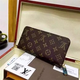 Wholesale Credit Cards Organizer - 2018 Free Shipping! Fashion designer clutch Genuine leather wallet with dust bag 60015 60017