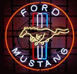"""führte höhlenlampe Rabatt Benutzerdefinierte neue Ford Mustang Echtglas Leuchtreklame Licht Bier Bar Zeichen senden Need Photo 19 x 15 """""""
