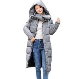 2019 vestes à carreaux à capuchon femme Parkas femme hiver chaud 2018 mode  plaid poche poche 92c10a2b61a