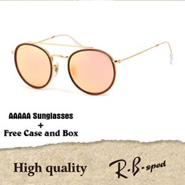 Wholesale Round Style Glasses For Men - Highest Quality Round Style Sunglasses for Men women Alloy frame Mirrored glass lens double Bridge Retro Eyewear with box and cases