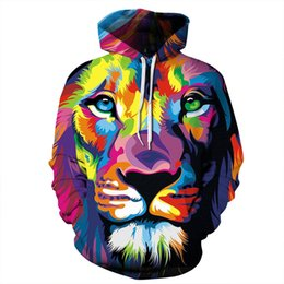 Wholesale Men Stylish Hoodies - Mens Womens Stylish Colorful Lion 3D Print Sweatshirts Hoodies Pullover Hooded Tracksuit Tops Animal Graphic Outerwear with pockect