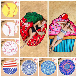 2019 sgabello da viaggio portatile Frutta fenicottero asciugamano da spiaggia hamburger gelato softball doccia asciugamano bagno protezione solare sciarpa scialle 23 stili 30pcs LJJO4381