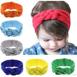 New Baby Elastico In Cotone Fasce Infant Girls Braid Twist Turbante Head Wraps Bambini Bambini Stretchy Comodo Allenamento Hairband 16 Colori KHA208 da