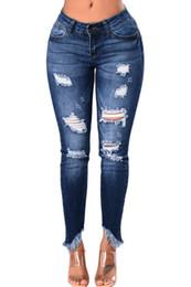 Wholesale Stylish Capris - Woman clothing newfashion Light Blue Whiskered Destroy Stylish Skinny Jeans big size hole high waist irregular trousers