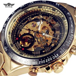 Wholesale Red Winner Watch - Wholesale-Winner New Number Sport Design Bezel Golden Watch Mens Watches Top Brand Luxury Montre Homme Clock Men Automatic Skeleton Watch