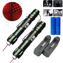 Wholesale Red Lazer - 2x 009 Red Laser Pen Pointer 5mw 650m Powerful Lazer Beam Light Military 2in1 Star Cap+18650 Battery+Charger
