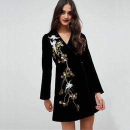 Kimono de terciopelo online-Nuevo vestido bordado de la moda de la grúa del terciopelo de las mujeres del vintage especial con la correa Vestido japonés del estilo del kimono Vestidos femeninos
