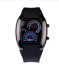 Aviação Turbo Dial Flash LED Assista Presente Mens Lady Sports Car Medidor de Aço Inoxidável Vestido relógios de Pulso de