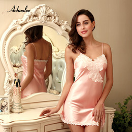 Wholesale Babydoll Lingerie Sale - AOHAOLEE Hot Sale 9 Colors Women Sexy Lingerie Satin Nightgown Chemises Slip Sleepwear Deep V Neck Babydoll Nightgowns For Women