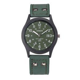 Wholesale vintage army watch - Watch Men Relogio Masculino Vintage Classic Men's Date Leather Strap Sport Quartz Army Watch Clocks erkek kol saati dropshipping