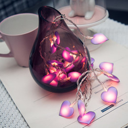 Lanterne a cuore guidate online-Luci a LED rosa Fiabe Love Heart 10 / 20LEDs Lanterna Navidad String Lights Holiday Lighting Camera da letto Casa luces led decoracion